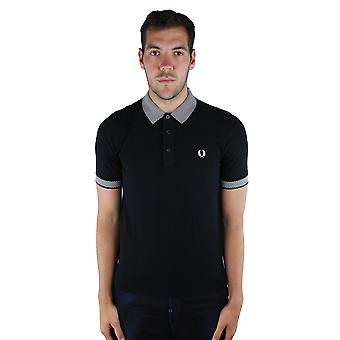 Fred Perry K1520 Cheqerboard Trim Knitted 102 Black Polo Shirt