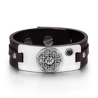 Wolf Paw keltisk sköld Knut magiska amulett simulerade svart Onyx mörkbrunt läderarmband