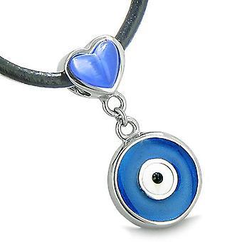 Amulet paha silmä voi peruuttaa kahden onnekas sydämet Yin Yang valtuudet sininen vaaleanpunainen Cats Eye riipus kaulakoru