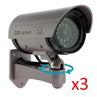 Kabalo 3 x Realistic Fake Dummy CCTV Security Camera Flashing Red LED Indoor Outdoor Silver