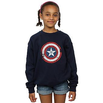 Marvel jenter Captain America borgerkrigen Distressed skjold Sweatshirt