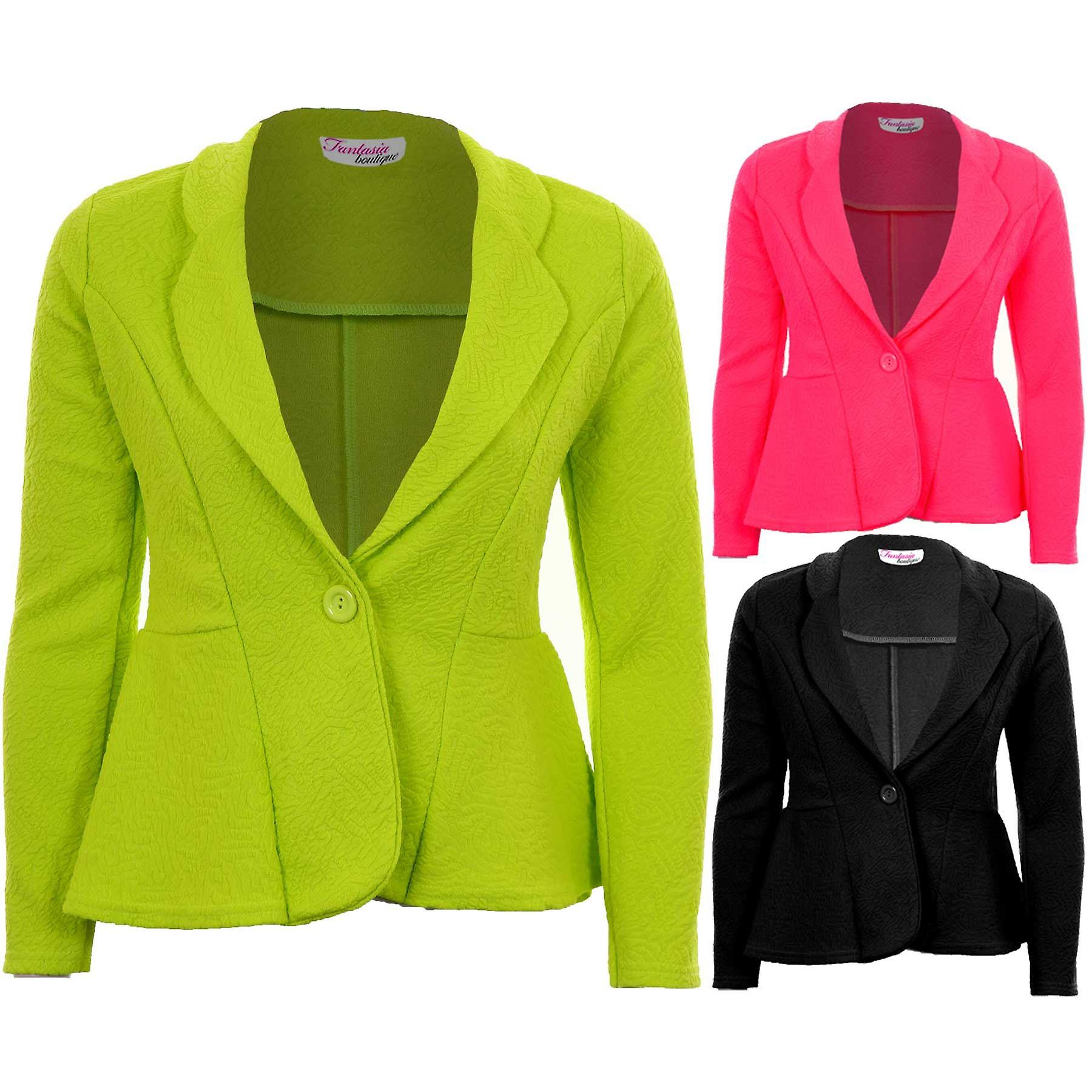 Ladies Textured One Button Luminous Frill Shift Party Office Blazer Women's Jacket