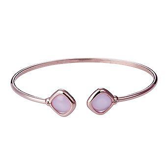 Orphelia 925 Silber Rose Gold Armreif Twist milchig rosa Farbe Glassantik ZA-7405