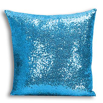i-Tronixs - Unicorn Printed Design Blue Sequin Cushion / Pillow Cover for Home Decor - 3
