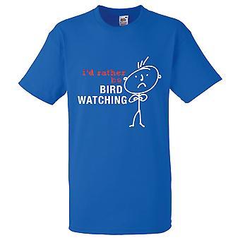 Mäns jag skulle hellre vara fågel vaktande Royal Blue Tshirt