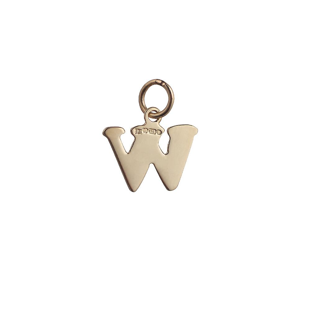 9ct Gold 15x11mm plain Initial W Pendant or Charm