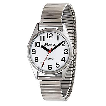 Ravel ladies quartz watch, easy to read, with White Dial, analog display and silver plated stainless steel strap, R 0225.01.2