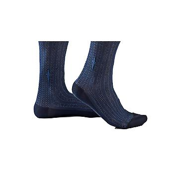 Blue socks with blue cables