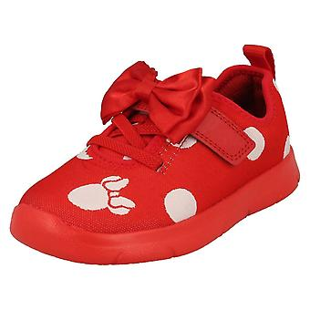 Girls Clarks Disney Minnie Mouse Bow Detailed Trainers Ath Bow