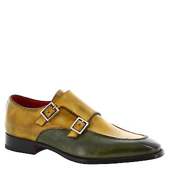 Leonardo Shoes men's handmade double monk in yellow and green calf leather
