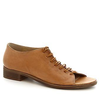 Leonardo shoes sandali piatti donna stringate a mano in pelle di vitello Tan