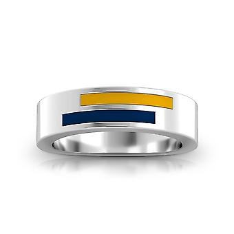 West Virginia University Sterling Silver Asymmetric Enamel Ring In Yellow and Blue
