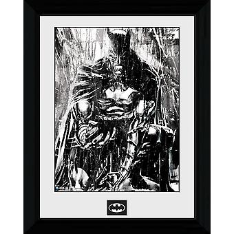 Batman Rain inramade Collector Print 40x30cm