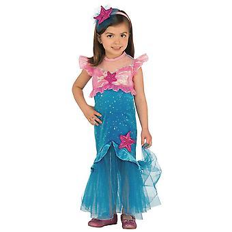 Havfrue lille prinsesse Ariel Fairytale historie bok uke pjokk jenter kostyme XS