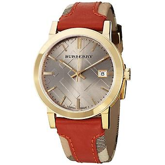 Burberry Bu9016 Men's Large Check Leather On Canvas Strap Watch