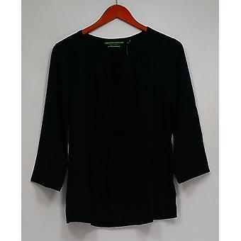 C. wonder top 3/4 mouw Split V-hals Catrina blouse zwart A275092