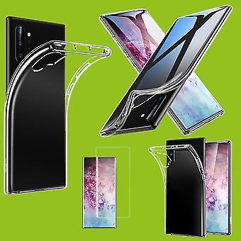 For Samsung Galaxy Note 10 Plus N975F silikon tilfelle TPU gjennomsiktig + 0,3 4D full buet H9 glass gjennomsiktig deksel