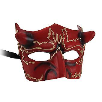 Hades halve gezichtsmasker gehoornde rode duivel