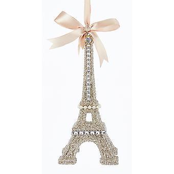 Kurt Adler Vintage ser glamour Platinum glitter Eiffeltårnet ornament 7 tommer