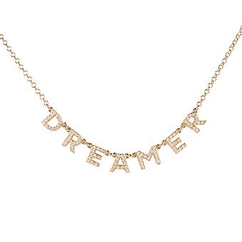 Dreamer Choker Necklace Rose Gold Word Letters Gift Gemstone Woman 925 Sparkle