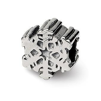 925 plata esterlina pulido acabado Reflexiones SimStars copo de nieve perla encanto colgante collar regalos de joyería para las mujeres
