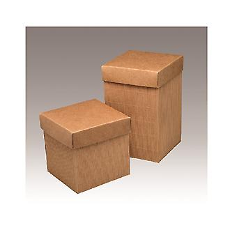 10 Corrugated Kraft 19cm Card Gift Boxes & Lids for Wedding Favours