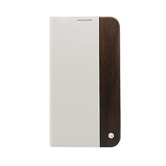 Samsung Galaxy S5 Case Mode Wooden White Textured Leather - Folio Hard Shell