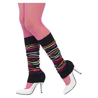 Womens 80s scaldamuscoli, Neon strisce nere costume accessorio
