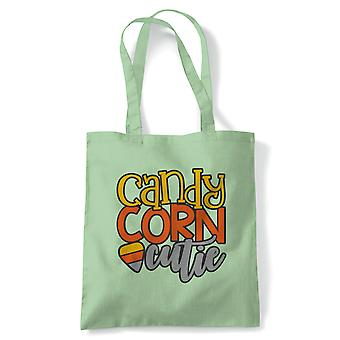 Candy Corn Cutie Tote | Halloween Fancy Dress Costume Trick Or Treat | Reusable Shopping Cotton Canvas Long Handled Natural Shopper Eco-Friendly Fashion