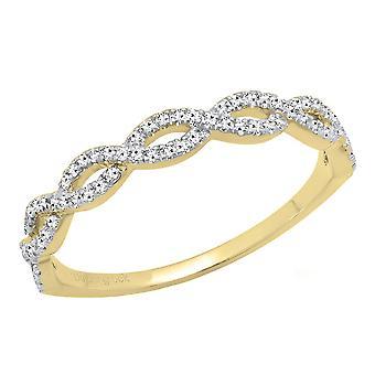 Dazzlingrock collectie 0,20 karaat (CTW) 18K ronde Diamond dames Swirl bruiloft stapelbare band 1/5 CT, geel goud