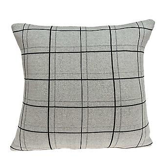 """20"""" x 7"""" x 20"""" Cubierta de almohada transitional Tan and Black Lines With Down Insert"""