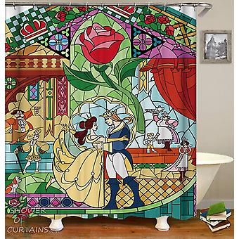 Stained Glass Beauty And The Beast Shower Curtain
