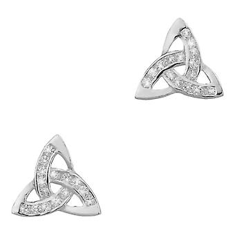 Celtic Holy Trinity Knot Stud Pair Of Earrings - Cubic Zirconia Stones