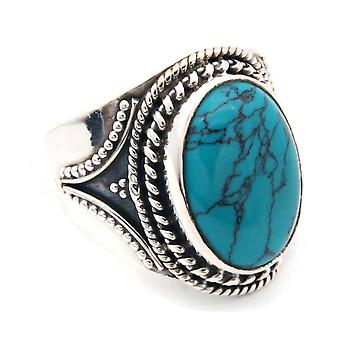 Ring Silver 925 Sterling Silver Turquoise Blue Green Stone (Nr: MRI 131-15)