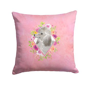 Grey Standard Poodle Pink Flowers Fabric Decorative Pillow