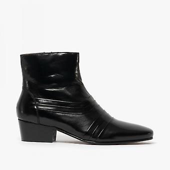 Kensington Jasper Mens Leather Cuban Heel Boots Black