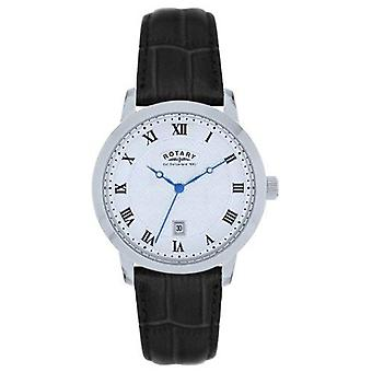 Rotary Silver Black Leather Strap Ladies Watch LS42825/01S 30mm