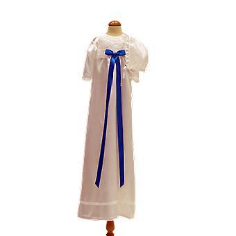 Abito di battesimo bianco e bonnet, con turchese Bow Grace Of Sweden Ma.v