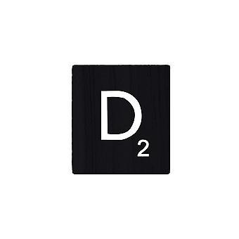Lettres noires de Scrabble en bois avec des nombres et des alphabets imprimés -D