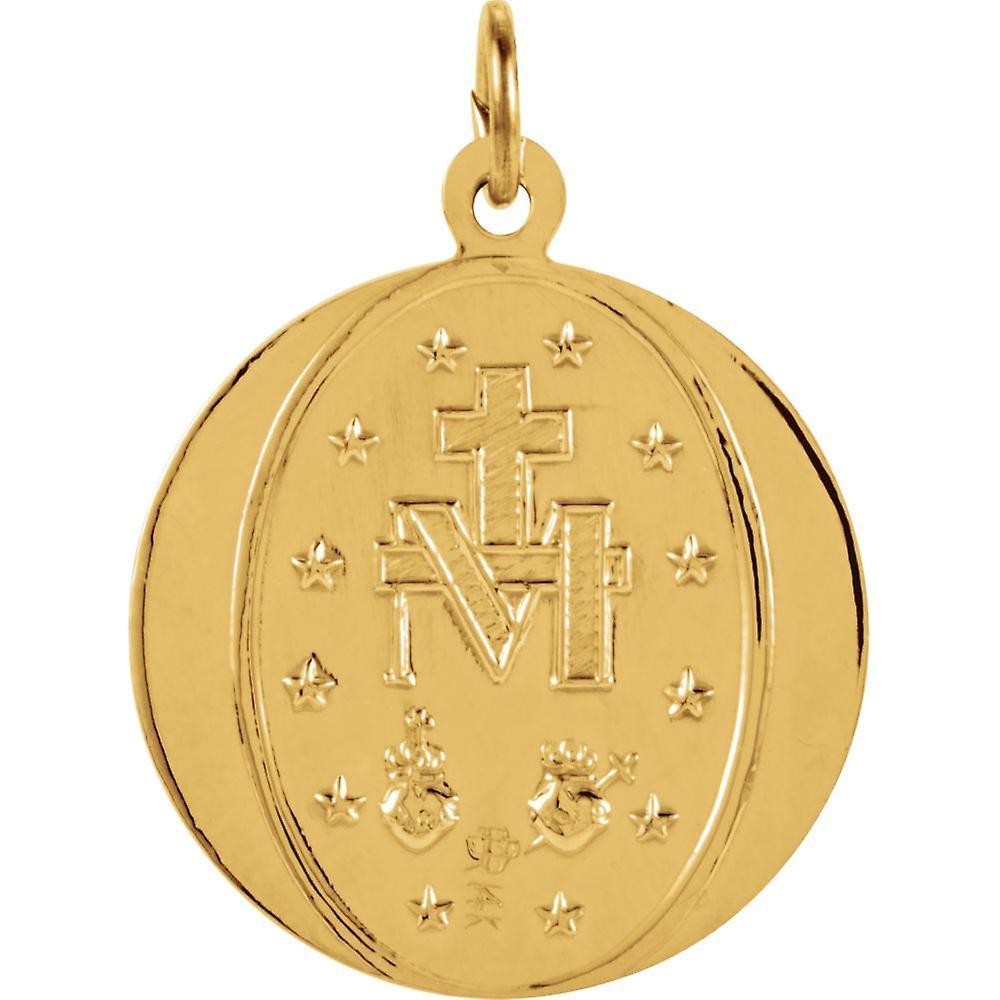 Anhänger Halskette 14 k Gelbgold 18mm poliert Runde wundersame Medaille Schmuck Geschenke für Frauen