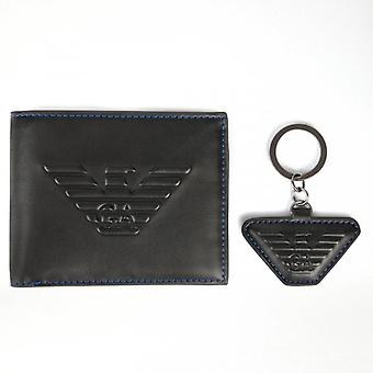 Emporio Armani Black PU Wallet With Keyring Gift Set Y4R222 YG90J