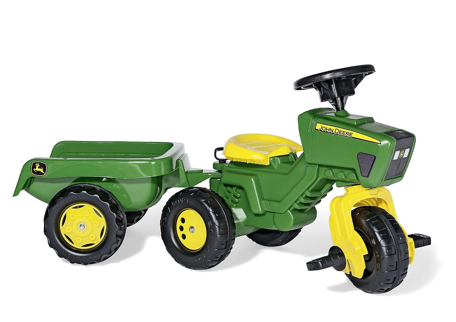 Licensed Rolly John Deere Trio Trac with Electronic Steering Wheel & Trailer