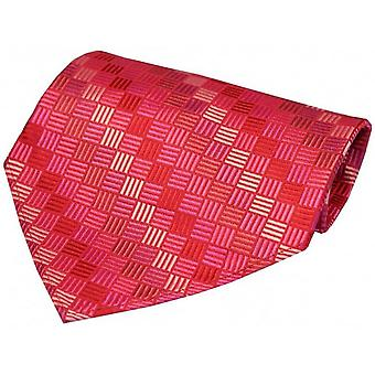 David Van Hagen Box Pattern Luxury Silk Handkerchief - Fuchsia Pink