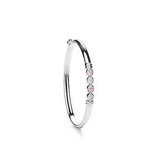 Eternity Sterling Silver Baby / Kids Pink / Cubic Zirconia Bangle