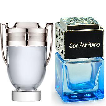 Paco Rabanne Invictus For Him Inspired Fragrance 8ml Blue Bottle Chrome Lid Car Air Freshener Vent Clip