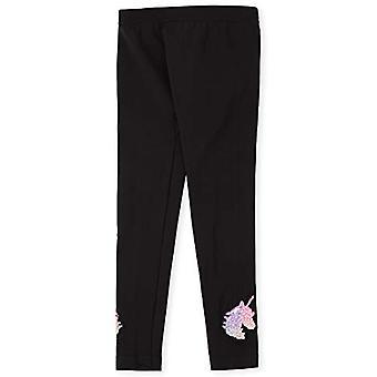 The Children's Place Girls' Big Flip Sequin Graphic Fleece Leggings, Black, M...