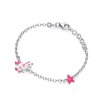David Deyong Children's Sterling Silver Pink Unicorn & Star Bracelet