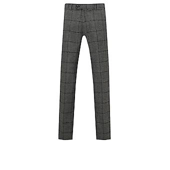 Dobell Mens Charcoal Suit Trousers Regular Fit Statement Check