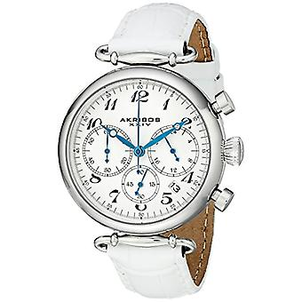 Akribos XXIV women s silver, retr, stainless steel style leather band, color: white
