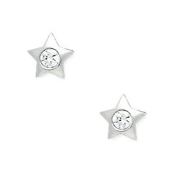 14k White Gold CZ Cubic Zirconia Simulated Diamond Small Star Screw back Earrings Measures 7x7mm Jewelry Gifts for Women
